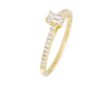 Load image into Gallery viewer, Complete Rings Yellow Gold with 0.31 CTW Emerald Diamond Center Stone Classic Engagement Ring