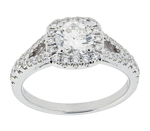Complete Rings White Gold with .62 CTW Round Diamond Diamond Center Stone Halo Engagement Ring