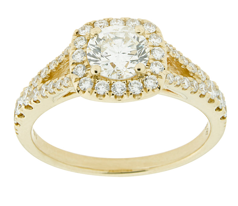 Complete Rings Yellow Gold with .60 CTW Round Diamond Diamond Center Stone Halo Engagement Ring
