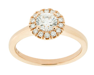 Complete Rings Rose Gold with  .51 CTW Round Diamond Diamond Center Stone Halo Engagement Ring
