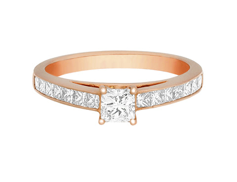 Complete Rings Rose Gold with 0.31 CTW Princess Diamond Diamond Center Stone Classic Engagement Ring