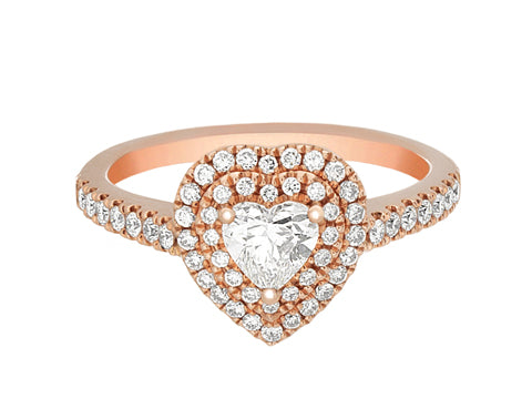 Complete Rings Rose Gold with 0.39 CTW Heart Diamond Diamond Center Stone Halo Engagement Ring