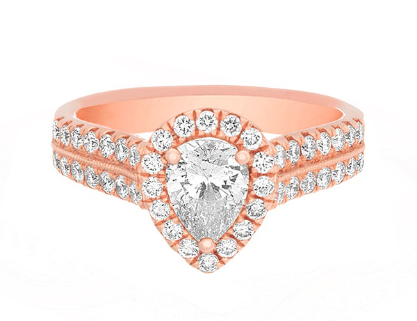 Complete Rings Rose Gold with 0.6 CTW Pear Diamond Diamond Center Stone Halo Engagement Ring