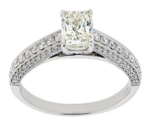 Complete Rings White Gold with .74 CTW Emerald Diamond Center Stone Classic Engagement Ring