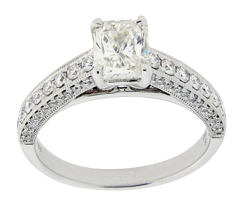 Complete Rings White Gold with .90 CTW Emerald Diamond Center Stone Classic Engagement Ring
