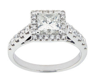 Complete Rings White Gold with .89 CTW Princess Diamond Diamond Center Stone Halo Engagement Ring