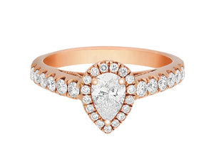 Complete Rings Rose Gold with 0.43 CTW Pear Diamond Diamond Center Stone Halo Engagement Ring