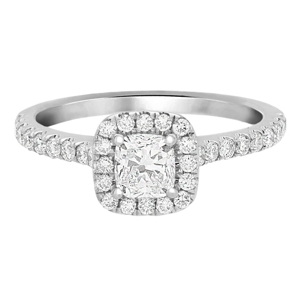 Complete Rings White Gold with 0.5 CTW Cushion Diamond Diamond Center Stone Halo Engagement Ring