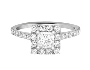 Complete Rings White Gold with 0.5 CTW Princess Diamond Diamond Center Stone Halo Engagement Ring