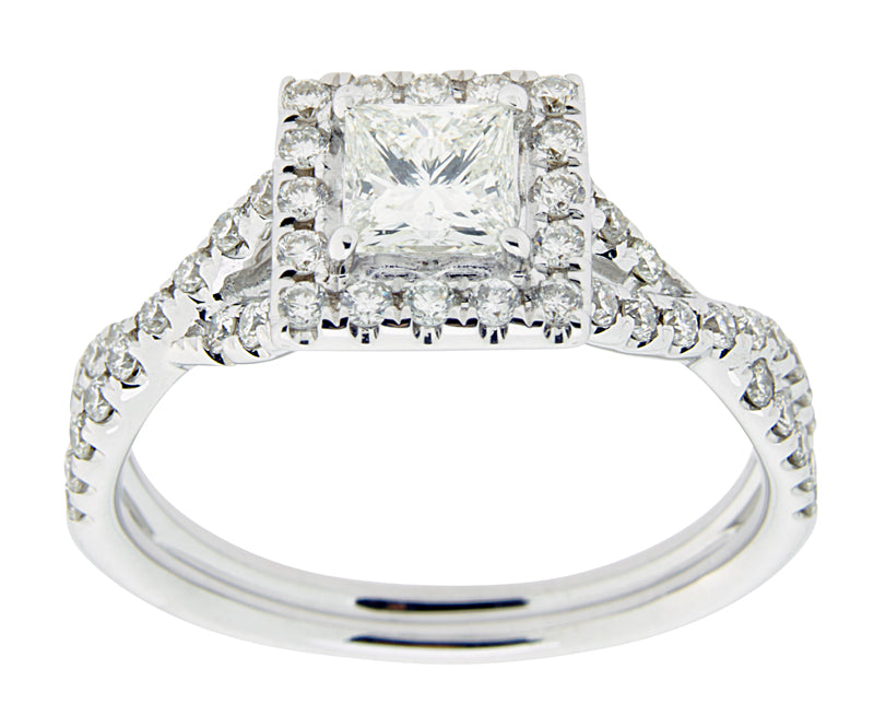 Complete Rings White Gold with .43 CTW Princess Diamond Diamond Center Stone Classic Engagement Ring