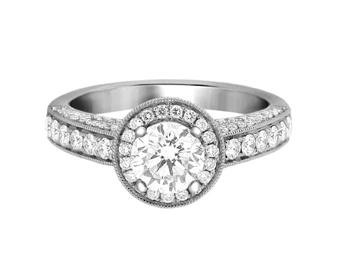 Complete Rings White Gold with 0.76 CTW Round Diamond Diamond Center Stone Halo Engagement Ring