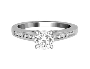 Complete Rings White Gold with 0.79 CTW Round Diamond Diamond Center Stone Classic Engagement Ring