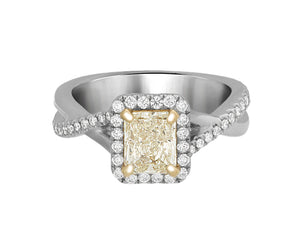 Complete Rings White Gold with 1.01 CTW Cushion Diamond Diamond Center Stone Halo Engagement Ring