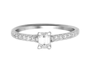 Complete Rings White Gold with 0.33 CTW  Diamond Center Stone Classic Engagement Ring