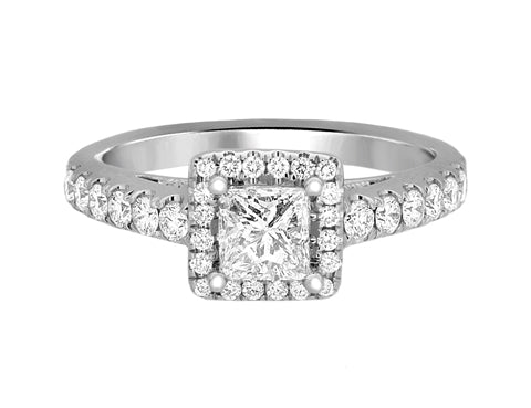 Complete Rings White Gold with 0.56 CTW Princess Diamond Diamond Center Stone Halo Engagement Ring