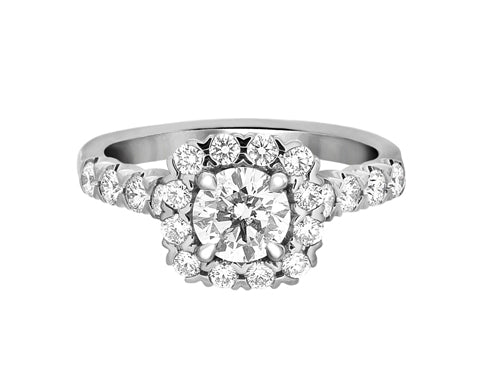 Complete Rings White Gold with 0.73 CTW Round Diamond Diamond Center Stone Halo Engagement Ring