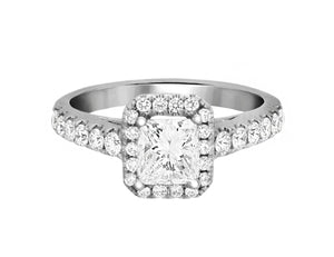 Complete Rings White Gold with 0.73 CTW Princess Diamond Diamond Center Stone Halo Engagement Ring