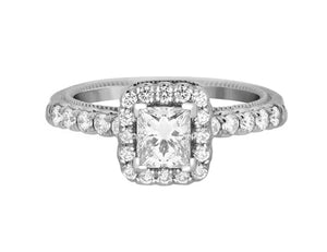 Complete Rings White Gold with 0.61 CTW Princess Diamond Diamond Center Stone Halo Engagement Ring