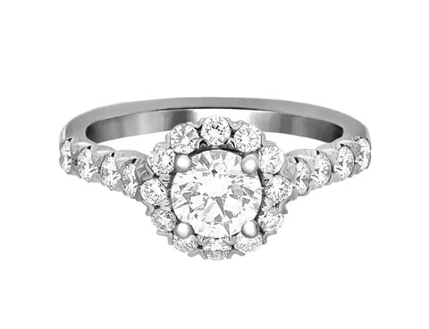 Complete Rings White Gold with 0.71 CTW Round Diamond Diamond Center Stone Halo Engagement Ring