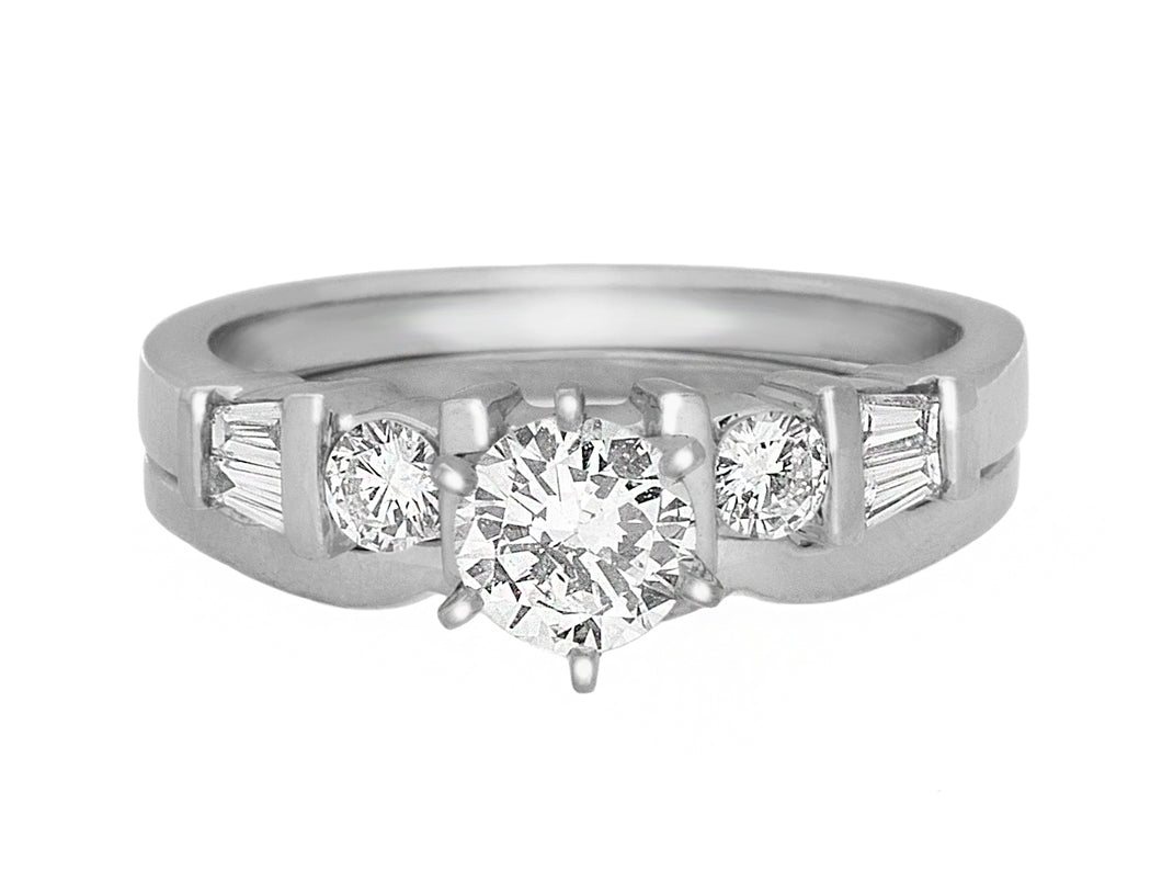Complete Rings Platinum with 0.45 CTW Round Diamond Diamond Center Stone Solitaire Engagement Ring