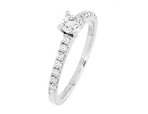 Complete Rings White Gold with 0.33 CTW Round Diamond Diamond Center Stone Classic Engagement Ring