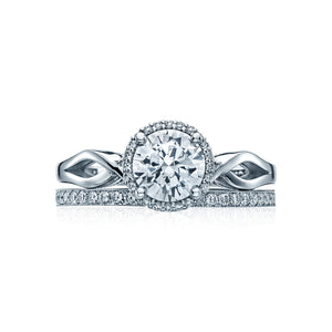 Tacori Sculpted Crescent Round Diamond Engagement Ring (0.06 CTW)