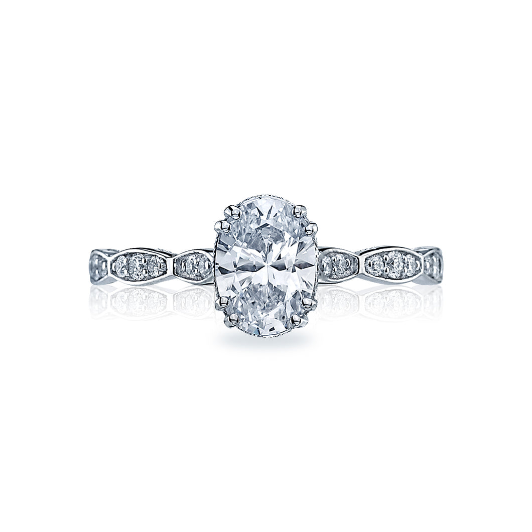 Tacori Sculpted Crescent Oval Diamond Engagement Ring (0.16 CTW)