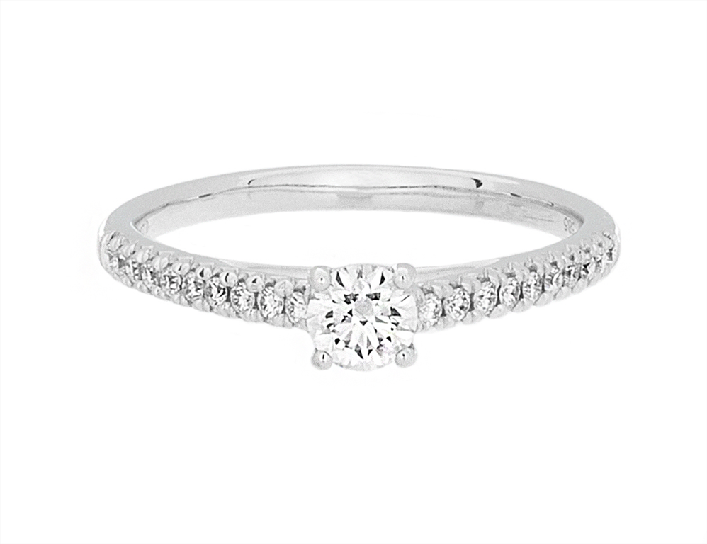Complete Rings 14kt White Gold Half-Way Pave Diamond Engagement Ring