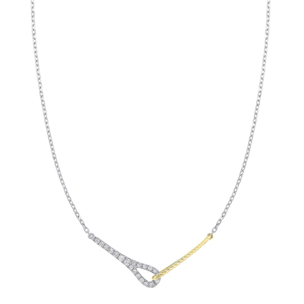 14K Two Tone Diamond Pendant (0.20 CTW)