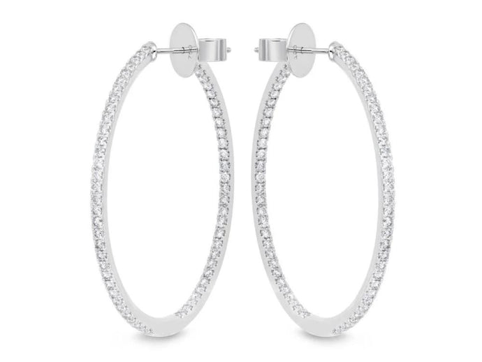 18K Large Diamond Inside Out Hoop Earrings (2 CTW)