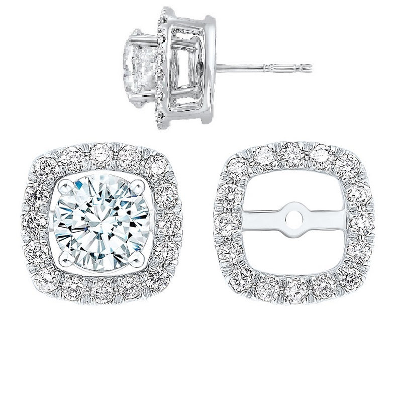 14kw halo micro prong diamond jacket earrings 1/4ct, rg10056-1wd
