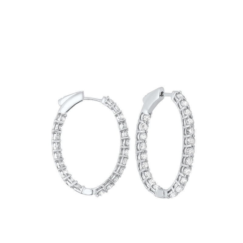 14kw prong diamond hoop earrings 3ct, fe2044-1wd