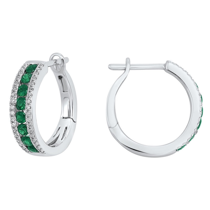 14kw 3 row channel emerald earrings 1/5ct, rg72936-1wnsyal