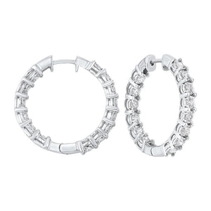 14kw tru ref prong diamond hoops 2ct, pp8.5aa-4w