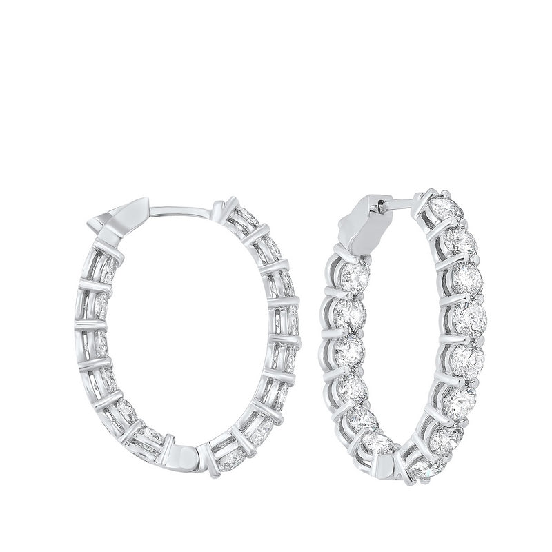 14kw prong diamond hoop earrings 7ct, fe2045-1pd