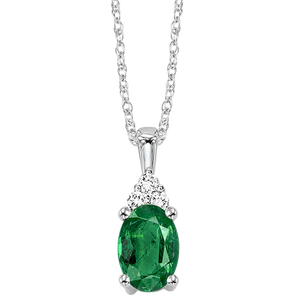 10kw color ens prong emerald necklace 1/30ct, fe1204-4wc