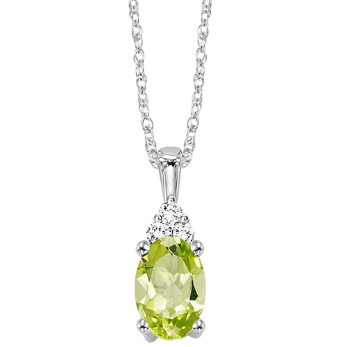 10kw color ens prong peridot necklace 1/30ct, er24311-4wc