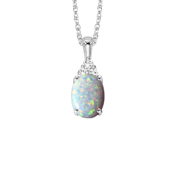 10kt White Gold Prong Opal Necklace 1/30CT