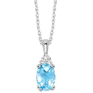 10kw color ens prong blue topaz necklace 1/30ct, er10149-4wb