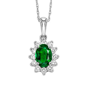 14kw color ens halo prong emerald pendant 1/5ct, rg68878-4wc