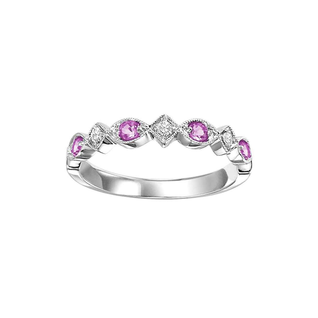 10kw mix prong pink sapphire band 1/20ct