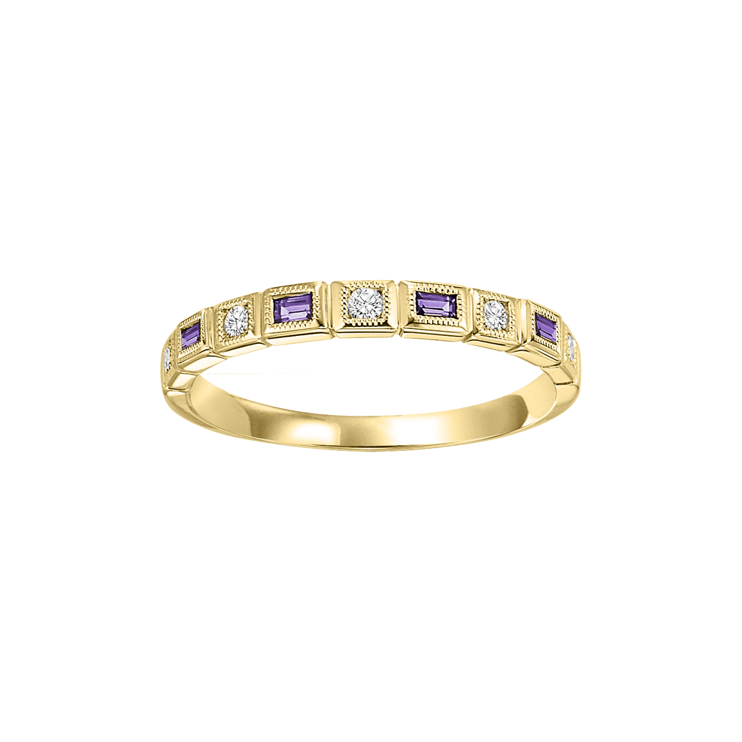 10ky mix bezel amethyst band 1/10ct