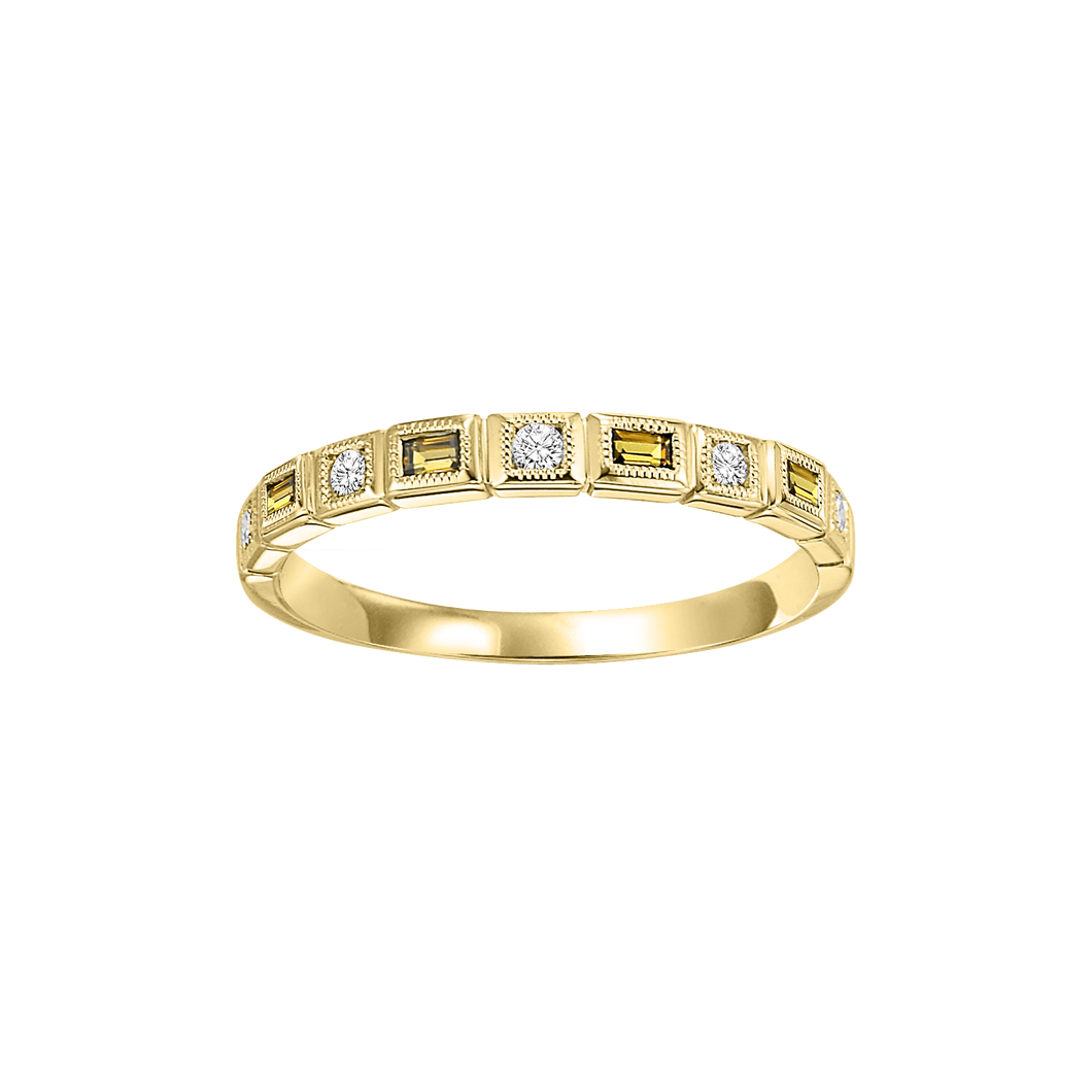 10ky mix bezel citrine band 1/12ct