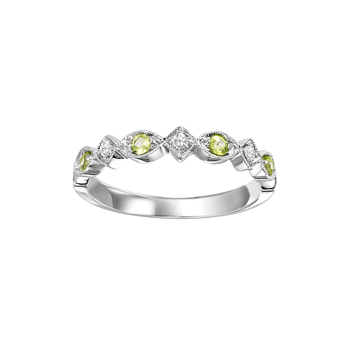 14kw mix prong peridot band 1/20ct, rg71637-4wb