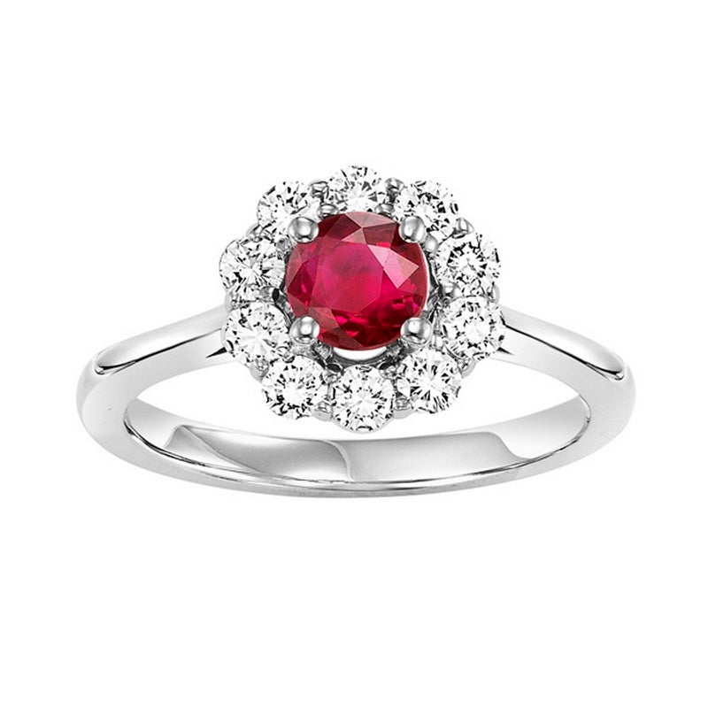 14kw color ens halo prong ruby ring 1/2ct, h130-5-4wc