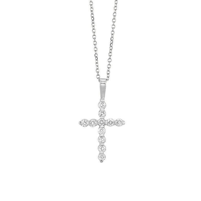 14kw cross bar set diamond necklace 1/4ct, fr1221-1y