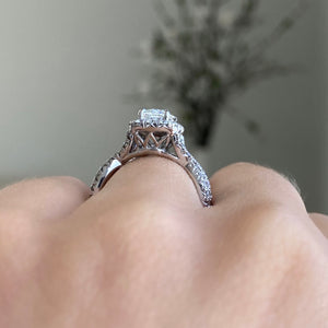 Complete Henri Daussi Cushion Engagement Ring