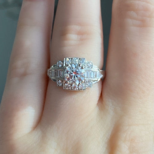 Complete Round Brilliant Engagement Ring With Art Deco Halo
