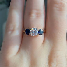 Load image into Gallery viewer, Complete Three-Stone Diamond and Sapphire Engagement Ring
