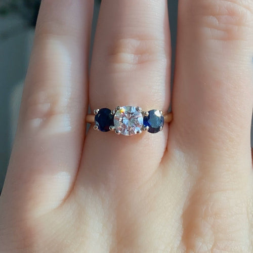 Complete Three-Stone Diamond and Sapphire Engagement Ring